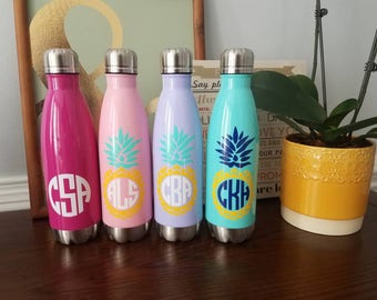 Personalized stainless steel bottle. Monogrammed water bottle. Insulated water bottle. Metal bottle. Monogram gift