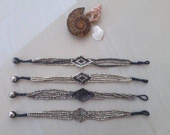 Silver plated brass beaded geometric bracelet