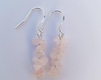 Rose quartz crystal earrings