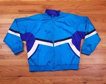 Vintage 80s Windbreaker Tracksuit Blue 90s color Block Jacket Size Large L