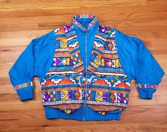 Vintage 80s Lavon Windbreaker Abstract Design Pattern 90s Vaporwave Jacket Tracksuit Size Large L