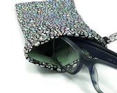 Sunglasses Glasses Case Snappy Snap Closure Silver Hologram Print by Bunzo Co