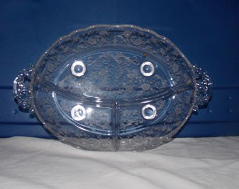 Vintage Fostoria Glass Chintz Etching Divided Relish Dish