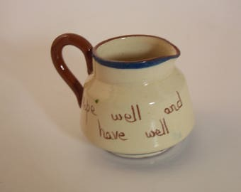 Vintage Antique Watcombe Devon Torquay Motto Ware Pottery jug small pitcher - Hope well and have well #117