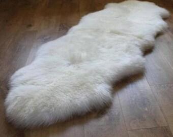 handmade natural ivory sheepskin rug double pelt 2 x 6