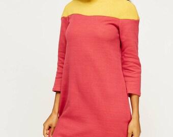Women's High Neck Colour Block Jumper Dress