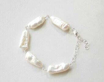 Freshwater Biwa Pearl  Bracelet in Sterling Silver. Black Pearl, Pink Pearl, White Pearl