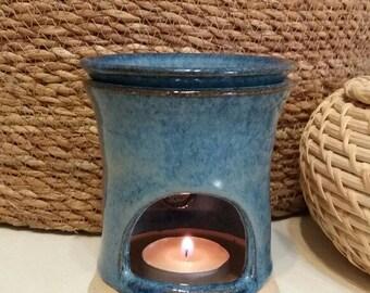 Blue Ceramic Oil Burner,Home Fragrances,Incense Burner, Candle Wax Warmer,Essential Oil Warmer, Baronete and Blue,Handmade Pottery-Israel