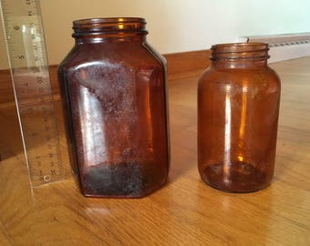 Brown glass vases /bottles