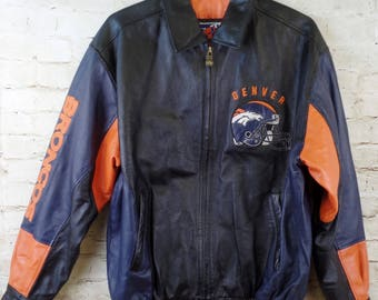 RARE G-III Carl Banks Denver Broncos NFL Leather Jacket Men's Large