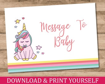 Printable, Personalised A6 Message To Baby Cards. Baby Shower Game. Unicorn Design. Digital Download.