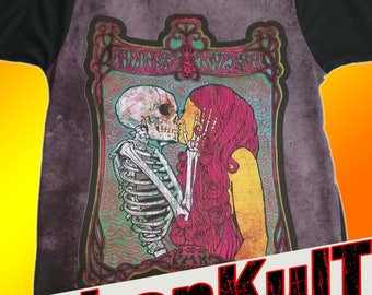 surreal art. Skeleton kissing girl. Tattoo art. psychedelic vintage retro. Gothic t shirts