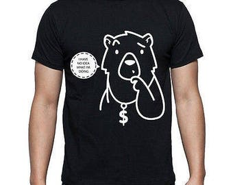 """Mens Hipster Style Bear """"I Have No Idea What I'm Doing"""" - Black T-shirt"""