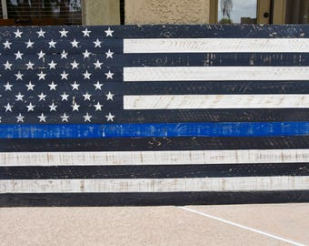 Extra Large Thin Blue Line American Flag