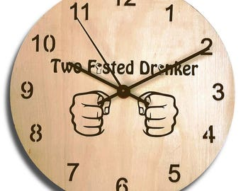 Two Fisted Drinker Clock