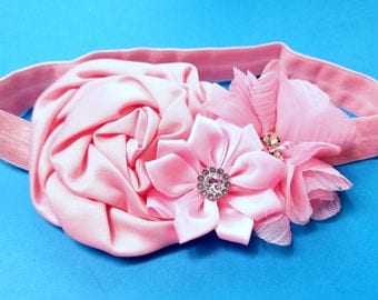 Baby Pink Headband, Baby Headband, Baby Girl Hair Accessories, Infant Headband, Baby Girl Headband, Floral Headband, Rhinestones, #120I