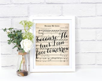 Printable Hymn Art - Because He Lives