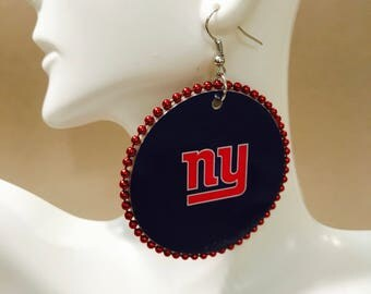 New York Giants Ear Rings w/red beads