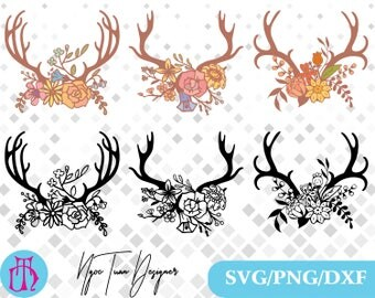 Antler floral svg,png,dxf/Antler floral clipart for Print,Design,Silhouette,Cricut and any more