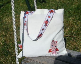 tote bag, kids bag embroidered Ladybug (free customization)