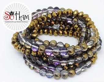 Bracelet Murano crystal elastic bracelet, gift for woman, birthday, Hematite litmus.