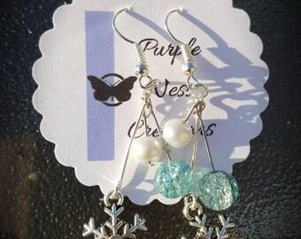 Handmade Silver Plated Snowflake Earrings, Christmas Earrings, Gift Idea, Fairytale Collection