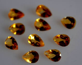 4x6 mm AAA citrine pear faceted - top grade gemstone AAA quality