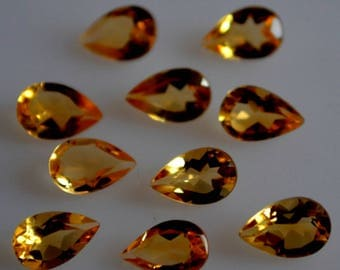6x8 mm AAA citrine pear faceted - top grade gemstone AAA quality