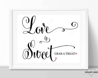 Love Is Sweet Sign - Love is Sweet Wedding Sign - Candy Wedding Signs - Wedding Signs - Wedding Decor - BLACK10X8LIS1