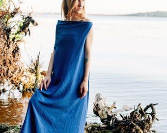 Linen dress Asteya, Blue maxi dress, dress-meditation, long dress, yoga dress, boho dress