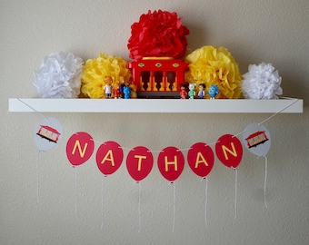 Personalized Daniel Tiger Inspired Trolley/Name Balloon Garland