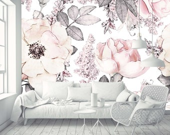 Removable Wallpaper Mural Peel & Stick Watercolor Vintage Floral Art Pink Flowers and Leaves on White Background
