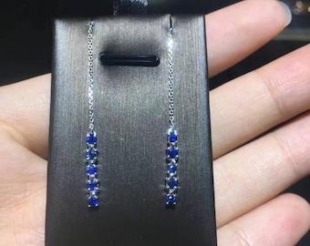 Blue sapphire drop earring .