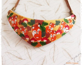 Made entirely of polymer clay Fox bib necklace. Fox necklace