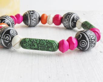 Unique Wooden Bead Stretch Bracelet