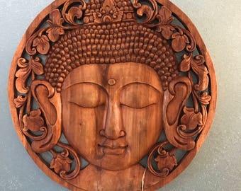 Buddha Head Hand Carved wooden panel Quality Wood wall art wall decor Bali Indonesia