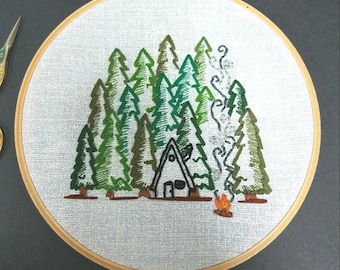 Forrest hideaway hand embroidered wall art