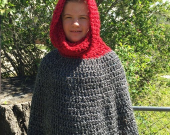 Crochet Poncho with Cowl