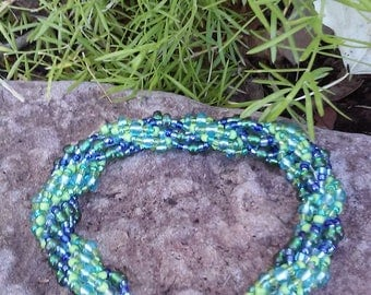 Blue & Green Double Spiral Beaded Bracelet