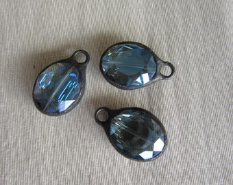 Hand Soldered Medium Reflective Blue Oval Crystal