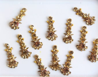 12 Gold Antique Long Face Jewels,Wedding Long Bindis Stickers,Stone Bindis,Gold Bindis,India Bindis,Bollywood Bindis,Self Adhesive Stickers