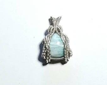 Amazonite wire woven pendant