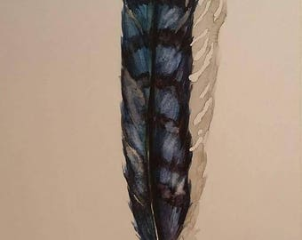 Blue Jay Feather - original watercolor