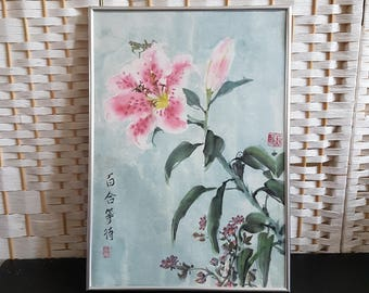 Chinese Traditional Ink Painting: Lily and pray mantis