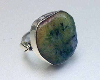 silver ring and multi-color solar agate size 49