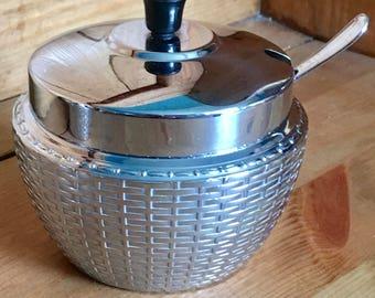 Vintage Swan Wikka ware design sugar bowl with lid & spoon