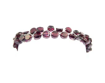 Silver 925 bracelet Garnet beads purple red