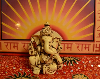 "3.5"" Lord Ganesh / Ganesha Statue Sculpted in Great Detail with Antique Finish – Ganesh Idol for Car / Home Decor / Mandir / Gift."