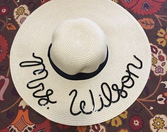 Custom Sequin Sun Hat | Personalized Floppy Beach Hat