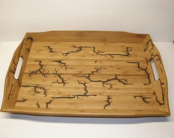 bamboo serving tray with lichtenberg patterns
